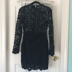 Black Misguided, long sleeve, lace dress.